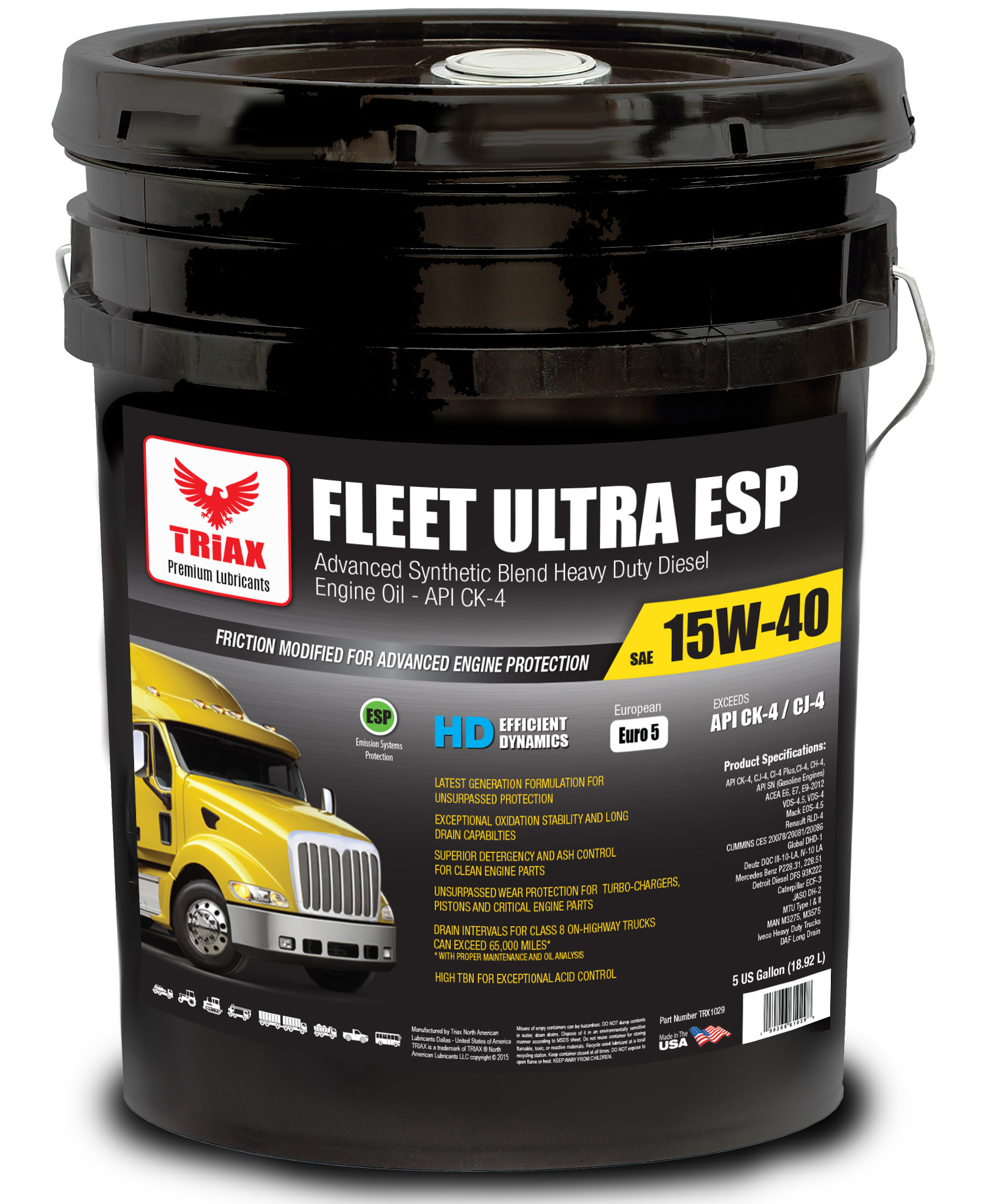 TRIAX Fleet Ultra ESP 15W-40 Synthetic Blend - CK-4 / VDS-4 Euro V