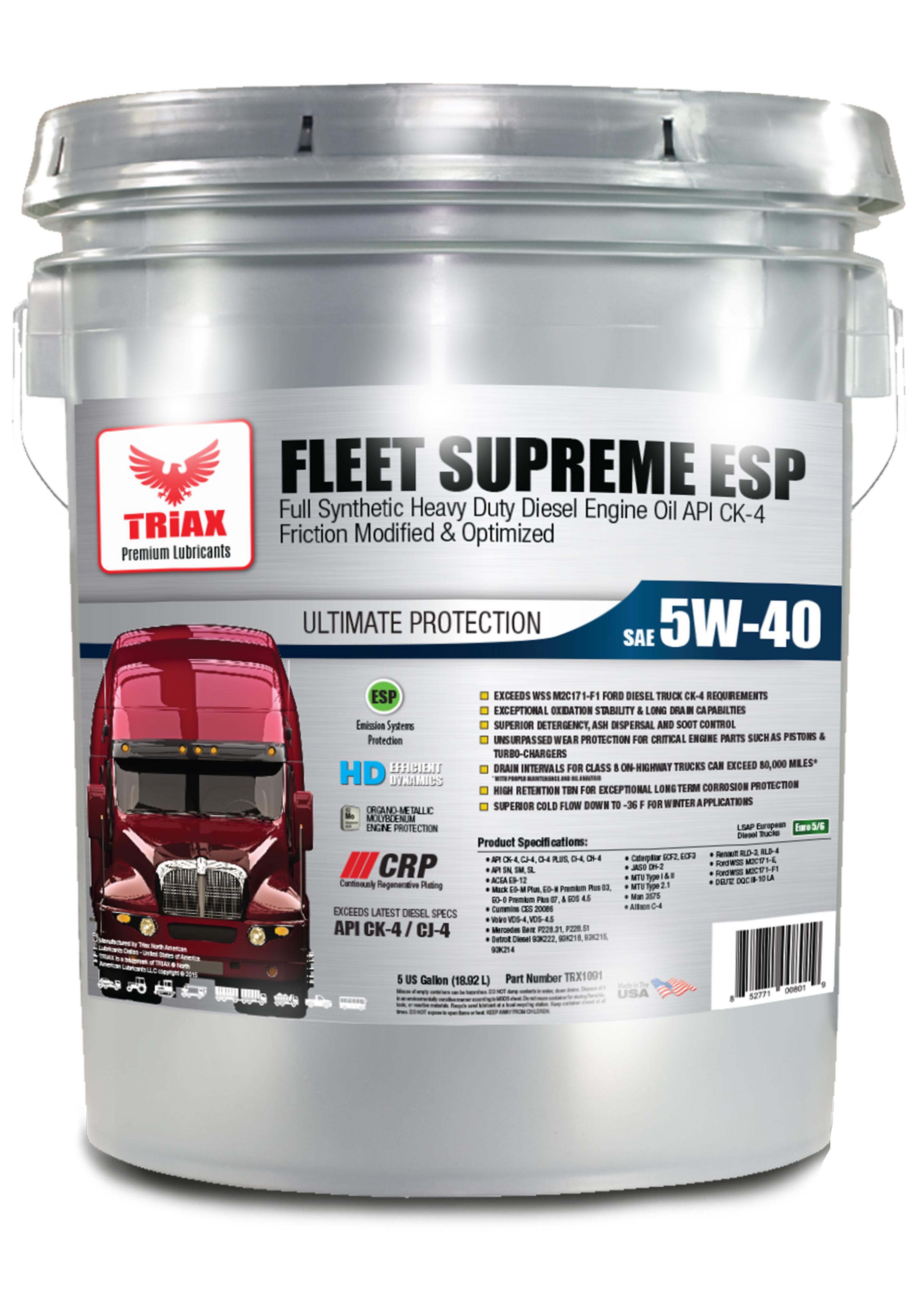 TRIAX Fleet Supreme 5W-40 Full Synthetic - Heavy Duty Diesel | API CK-4 | VOLVO VDS-4.5 | MB 229.51